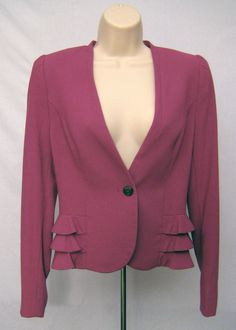 $49.95 H&M Purple Blazer Jacket Coat with Ruffles One Button Front Womens Sz 8 #HM #Blazer