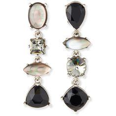 Oscar de la Renta Mixed Swarovski® Crystal Drop Clip Earrings ($390) ❤ liked on Polyvore featuring jewelry, earrings, accessories, black, drop clip earrings, beading jewelry, swarovski crystals earrings, swarovski crystal jewellery and swarovski crystal jewelry