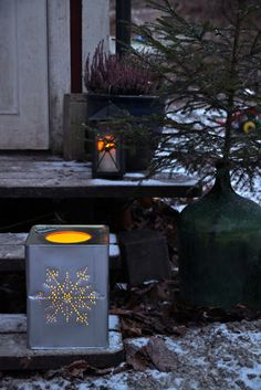 luminary made from an XL olive oil tin!