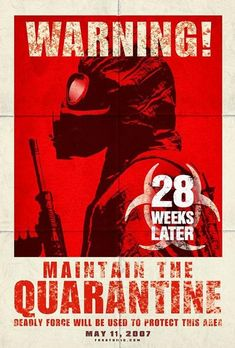 The fact that the first word that the audience would read is 'Warning!' sets the tone for the rest of the poster and puts the viewers on edge. The color scheme used, red/ black, is synonymous with horror/ thriller movies. Also the imagery of the person wearing a gas mask and wielding a gun suggests violence and a fast pace.
