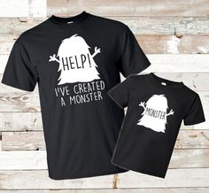 Father's Day – Help! I've created a monster – Matching shirts – Father daughter – Father son – Matching dad shirt – Dad daughter – Dad son - Father'S Day Papa Shirts, Fathers Day Shirts, Dad To Be Shirts, Dad Daughter, Father Daughter Shirts, Father Son Matching Shirts, Daddy And Son, Husband, Baby Kind