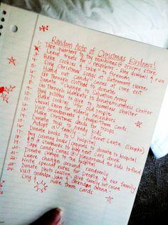 RACKd list for the Christmas season (Random Acts of Christmas Kindness)