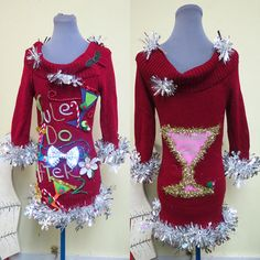 b7af775ef17 Yule Do After 2 Martini Glasses Olives Fun Ugly Christmas Sweater Dress  Foo-Foo Feather Boa Glam