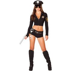 Adult Officer Hottie Sexy Costume ($80) ❤ liked on Polyvore featuring costumes, halloween costumes, multicolor, silver costume, adult halloween costumes, adult halloween party costumes, sexy halloween costumes and sexy costumes