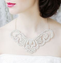 Wedding Rhinestone Statement Necklace. $125.00, via Etsy.