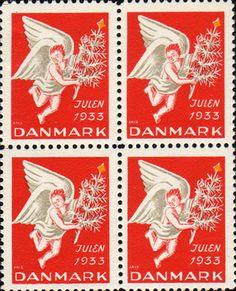 デンマーク・クリスマス・シール1933年 クリスマス・ツリーを運ぶ天使 Christmas Seal of Denmark