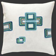 Contemporary decor embroidered linen throw pillows by Madaspen Home