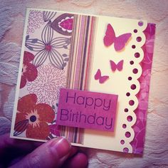 Birthday card for Granny made using desert blooms scraps, martha stewart punches, and a birthday stamp.