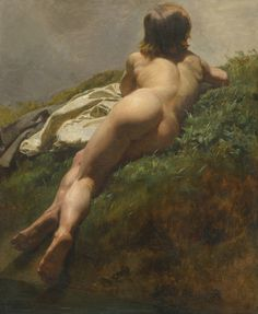 Rudolf Koller (1828-Zurich-1905), Naked Young Boy Laying Outdoors, Sotheby's sale, December 2014