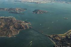 Puente Golden gate, Alcatraz y la bahía de San Francisco, preparándose para el aterrizaje.