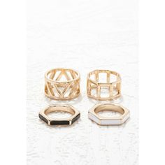Forever 21 Cutout Ring Set ($5.90) ❤ liked on Polyvore featuring jewelry, rings, band jewelry, pandora jewelry, engagement rings, cut out ring and forever 21