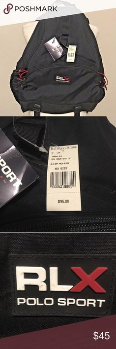 NWT-Polo Ralph Lauren Sport Black Backpack Great new with tags $95 Ralph Lauren Polo Sport X backpack. Measures 19 inches tall, 15 inches at the widest part. Has 2 zipper length. The main zipper compartment has an extra pocket in the interior. The smaller zipper compartment is located towards the middle of the backpack. There is a side pocket for a beverage. It features a strap across the chest and a strap across the waist. Also has back padding for comfort. There are a few minor smudge…