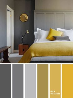 10 Best Color Schemes for Your Bedroom { Blue Grey + Mustard } With gold accents - mustard color bedroom, grey color palette, colour palette color colorpalette bedroom 849069335979820978 Color Palette For Home, Bedroom Colour Palette, Bedroom Color Schemes, Color Palette Gray, Gold Color Scheme, Grey And Gold Bedroom, Gold Bedroom Decor, Blue Bedroom, Diy Bedroom