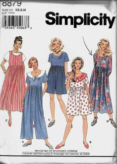 Simplicity 8879 Misses Raised Waist Jumpsuit And Dress Or Jumper Pattern, Size XS-S-M, UNCUT by DawnsDesignBoutique on Etsy