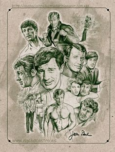 "Jean Paul Belmondo,(bebel),illustration from the book ""men of Hollywood"".Nacho Castro.Diábolo Ediciones"