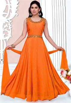 Readymade Orange Satin Partywear Anarkali Suit  #Readymade #Suit #nikvik #sale # dress #designer #usa #australia #canada #freeshipping #suits #pakistani