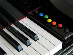 """""""4 times"""" Game. We take 4 small objects and place them on one side of the piano. Every time a student plays a tricky spot correctly, they move one object over to the other side. VARIATION: Use M&Ms and/or Skittles. Instead of moving a piece from one side of the keyboard to the other, when the student correctly plays a measure or section they get to move the candy directly to their mouth!"""