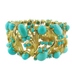 1970s Turquoise Diamond Gold Bracelet | From a unique collection of vintage more bracelets at https://www.1stdibs.com/jewelry/bracelets/more-bracelets/