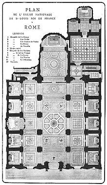 Plan de l'église nationale de St Louis roi de France à Rome