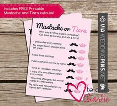 Neat! - Mustache or Tiara: A spin on He said, she said + free mustache and tiara cutouts#bridalshower  by TeAmoCharlie, $8.00 | CHECK OUT MORE GREAT BACHELORETTE PICS AND IDEAS AT WEDDINGPINS.NET | #weddings #wedding #bachelorette #bachelorparty #events #forweddings #hot #love #romance #honeymoon