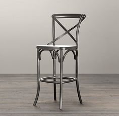 Restoration Hardware's Metal Madeleine Stool:Modeled after the most popular café chair in Europe, our versatile X-back stool pays homage to the bentwood tradition popularized by Thonet in Austria. Kitchen Counter Stools, Bar Counter, Island Stools, Wood Counter, Kitchen Tables, Kitchen Island, Kitchen Cabinets, Ottoman, Swivel Rocker Recliner Chair