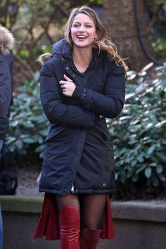 Melissa Benoist - On Set Of Supergirl Vancouver