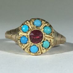 Vintage Turquoise and Tourmaline Ring. 14K Yellow Gold Art Nouveau Ring. Unique…