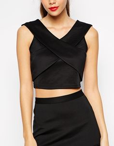 ASOS.com Girls On Film Petite Scuba Crop Top £24 Note - going out top