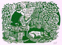 """Tea Break"" in the garden. Blank greeting card by John O'Connor"