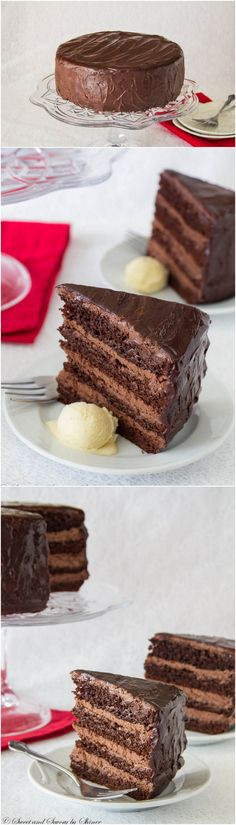 For serious chocolate lovers,decadent chocolate cake with chocolate mousse filling