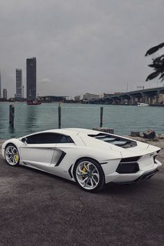 The Lamborghini Huracan was debuted at the 2014 Geneva Motor Show and went into production in the same year. The car Lamborghini's replacement to the Gallardo. The Huracan is available as a coupe and a spyder. Lamborghini Aventador, Carros Lamborghini, Lamborghini Photos, Ferrari 458, White Lamborghini, Maserati, Luxury Sports Cars, Dream Cars, My Dream Car