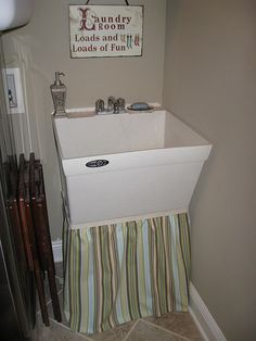 utility sink skirt - hate the green but love the pattern