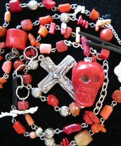 Coral Skull Rosary by jansbeads on Etsy, $109.50