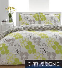 City Scene Pressed Flower 3-piece Duvet Cover Set | Overstock.com Shopping - Great Deals on City Scene Duvet Covers