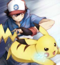 Ash Ketchum: Ash & Pikachu (by punchiki)