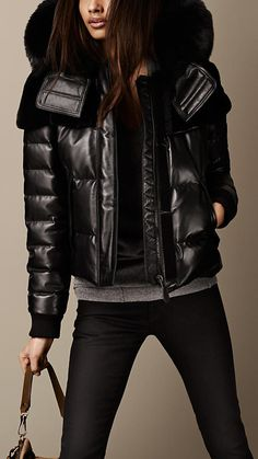 CHRISTMAS WISH!!! BURBERRY FUR TRIM NAPPA LEATHER PUFFER JACKET