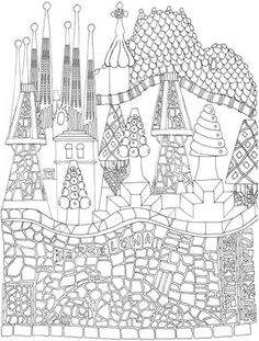 Creative Haven CityScapes: A Coloring Book with a Hidden Picture Twist By: Alexandra Cowell - Dover Publications PAGE 2 Pattern Coloring Pages, Coloring Pages To Print, Free Coloring Pages, Coloring For Kids, Printable Coloring, Coloring Books, Coloring Sheets, Antonio Gaudi, Arts Barcelona