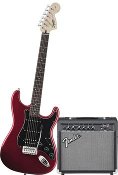 Click Image Above To Purchase: Squier Affinity Hss Stratocaster Electric Guitar Pack W/ 15g Amplifier Candy Apple Red