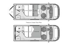 Interesting plan. Flip pillows around and feet could actually go under counter. Build up a bit, and perhaps design bed to slide over rotated captain's chair? Van Conversion Layout, Sprinter Van Conversion, Camper Van Conversion Diy, Bus Life, Camper Life, Iveco Daily 4x4, T3 Vw, Van Dwelling, Kombi Home