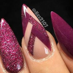 Almond shaped nail design with burgundy purple gel polish, glitter, and line art! Beautiful nails sculpted by Ugly Duckling Nails page is dedicated to promoting quality, inspirational nails created by International Nail Artists # Fabulous Nails, Gorgeous Nails, Love Nails, Fun Nails, Almond Acrylic Nails, Almond Shape Nails, Almond Nails, Acrylic Nail Designs, Nail Art Designs
