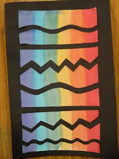 Rainbow, types of lines, painting, cutting,gluing and pos/neg all in one simple lesson!