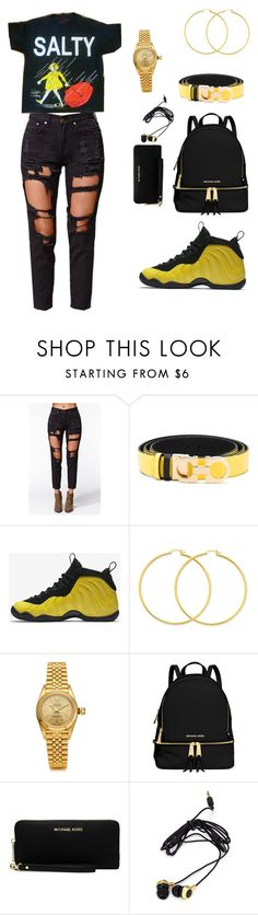 """Untitled #637"" by msnh ❤ liked on Polyvore featuring Reverse, Salvatore Ferragamo, NIKE, Rolex, MICHAEL Michael Kors and Forever 21"