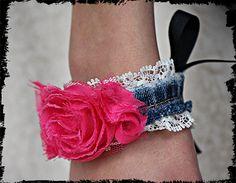 Denim lace shabby cuff / bracelet ribbon tie by kellyjoe on Etsy, $7.50