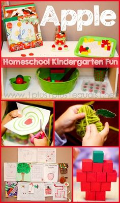 Apple Theme Homeschool Kindergarten Fun from @1plus1plus1