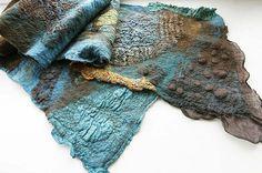 azureskyandsea:    Nuno felted Scarf Brown Turquoise OOAK (by Jane Bo)