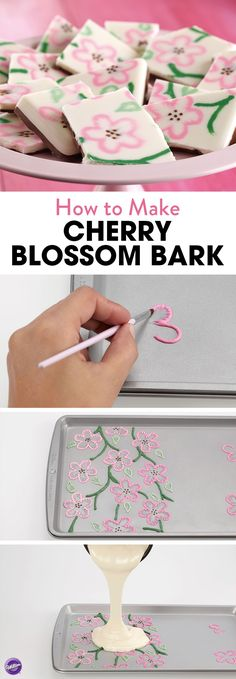 How to Make Cherry Blossom Bark - Melt pink Candy Melts and put in a decorating bag to pipe flowers on a baking sheet. Use a brush to draw thin lines of the candy toward the center of the petal. Melt green Candy Melts and use it to pipe stems. Fondant Cupcakes, Cupcake Cakes, Green Candy, Pink Candy, Chocolates, Candy Bark, Bark Recipe, Easter Candy, Cooking Tips
