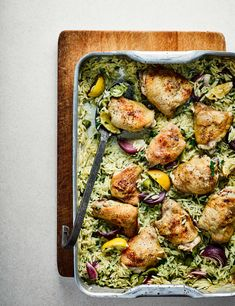 Chicken Tray Bake Recipe With Lemon, Olives and Orzo This chicken tray bake with lemon, olives and orzo is a great midweek meal for all the family. It's super simple, and low in calories