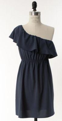 The Darling Navy Blue One Shoulder Dress