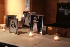 Like this idea to have a table with old family wedding photos