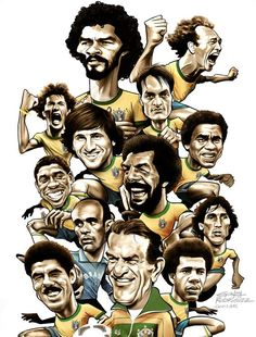 "Cover design and illustration for the book ""Brasil o time que perdeu a Copa e conquistou o mundo"" by Paulo Roberto Falcão.Caricatures of greats players of the Brazil national football team, like Falcao, Zico, Junior and Socrates. Football Icon, Football Art, National Football Teams, World Football, Kids Soccer, Soccer Fans, Football Players, Man Utd Tattoo, Football Formations"